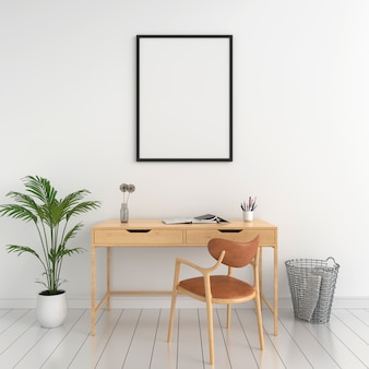 壁のモックアップのための空白のフォトフレーム