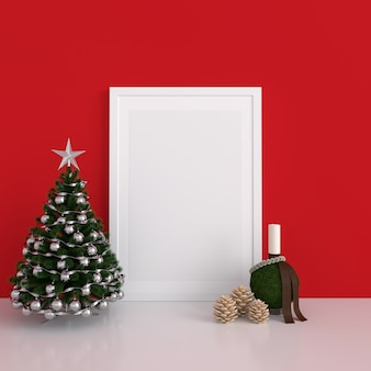 Blank photo frame for mockup, christmas concept