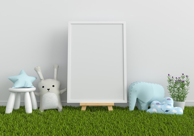 Blank photo frame for mockup and doll on grass
