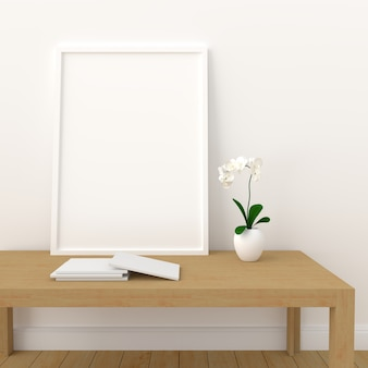 Blank photo frame for mockup in modern living room, 3d render, 3d illustration