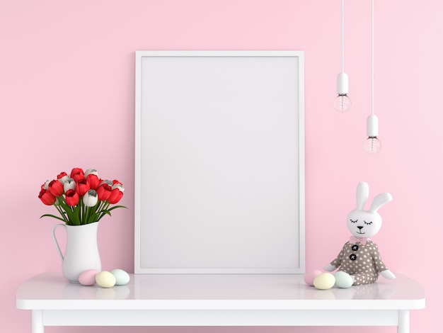 Blank photo frame for mockup on table, easter concept