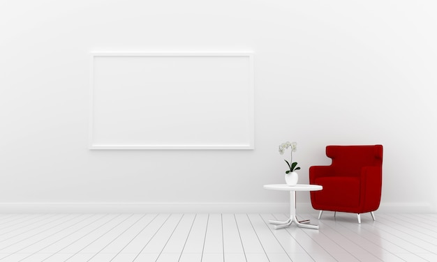 Blank photo frame for mockup in white room, 3d render, 3d illustration
