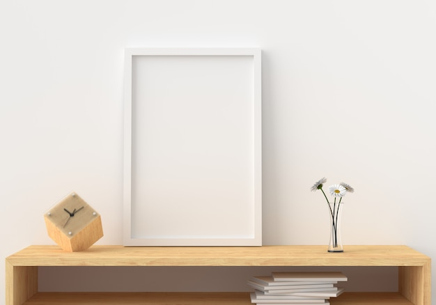 Blank photo frame in modern living room, 3d render, 3d