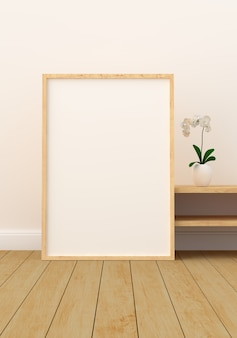 Blank photo frame in modern living room