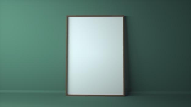 薄緑の壁のモックアップの空白のフォトフレーム