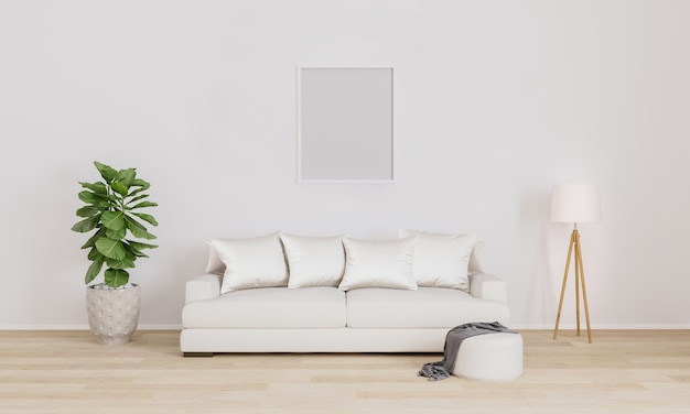 Пустая рамка на стене. вставьте свое фото. современный интерьер гостиной