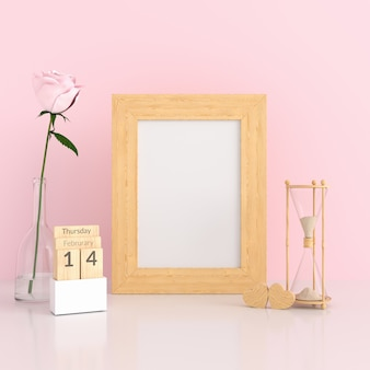 Blank photo frame in pink room for mockup