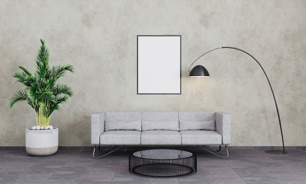 Blank photo frame on wall. insert your photo. modern interior of living room