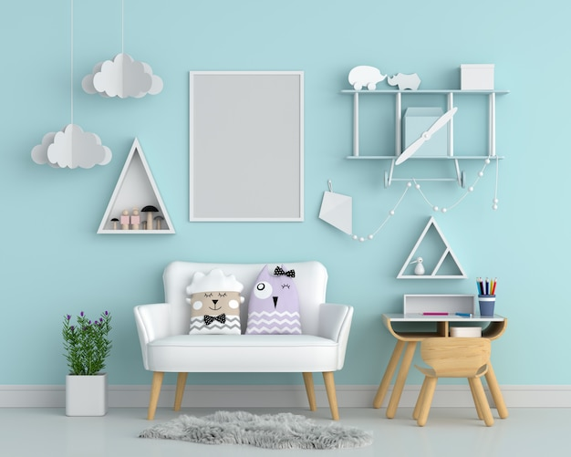 Blank photo frame on wall for mockup