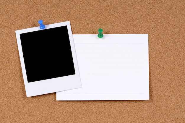 Blank photo print with index card