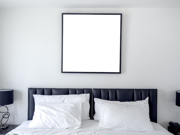 Blank photo square frame in bedroom