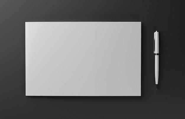 빈 사실적인 소책자 표지 3d 그림 빨간색 배경에 고립.