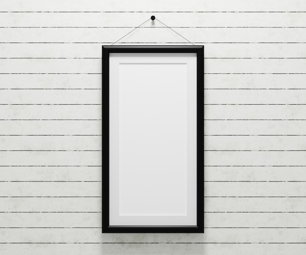 Blank picture frame  hanging on the wall for insert your photo.3d render illustration.
