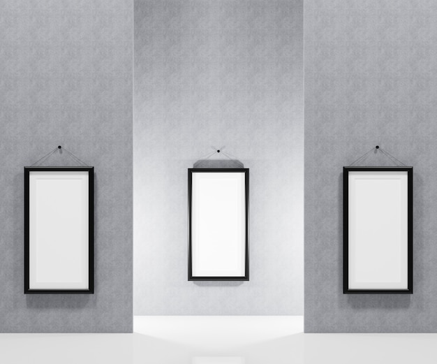 Blank picture frame  hanging on the wall for insert your photo. 3d render illustration.