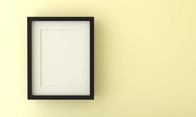Blank picture frame for insert text or image inside on pastel yellow color.