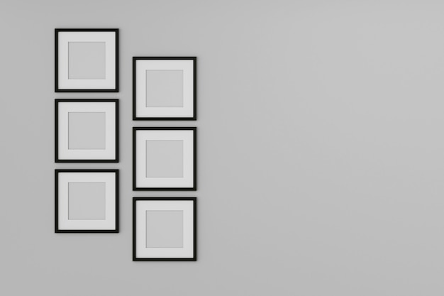 Blank picture frame mock up on the white wall. 3d rendering.