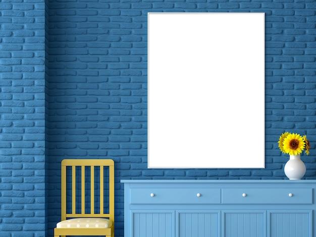 파란색 벽돌 벽에 빈 그림 프레임 3d 렌더링
