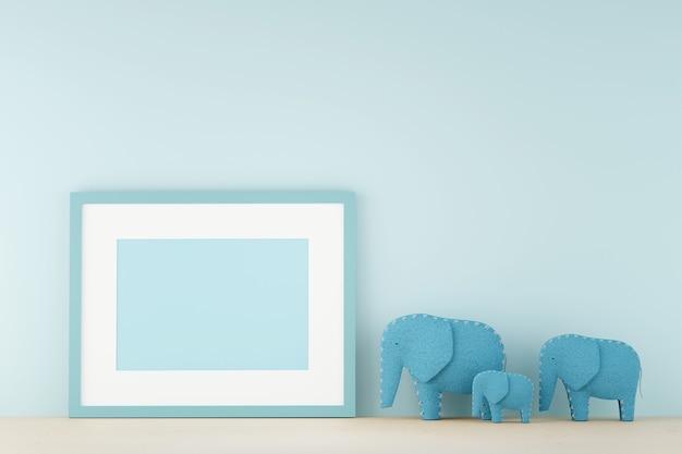 파스텔 거실 벽에 빈 그림 프레임. 3d 렌더링입니다.