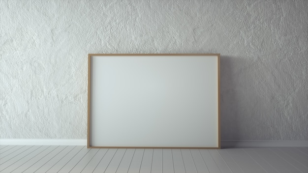 Blank picture frame and sunlight on a wall. 3d rendering.