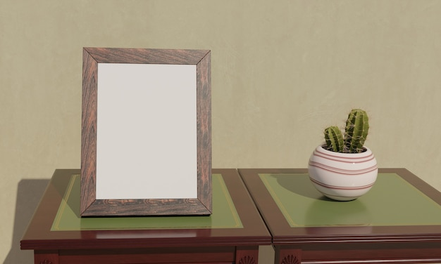 Blank picture frame view from a comfortable angle