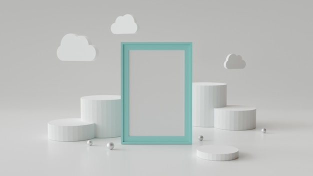 Blank picture frame with cylinder podium. abstract geometric background for display or mockup.
