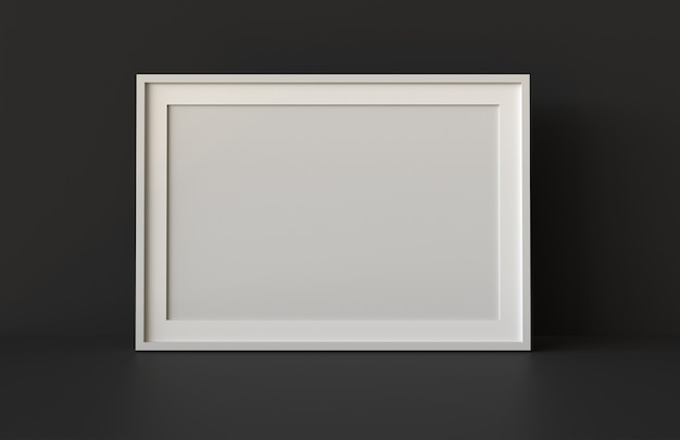 Blank picture frame with table and wall background