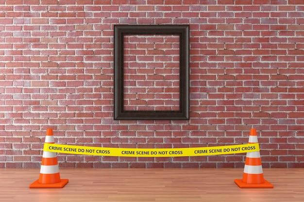 Blank picture frame with yellow tape do not cross police line with road cones in museum on a red brick wall background. 3d rendering