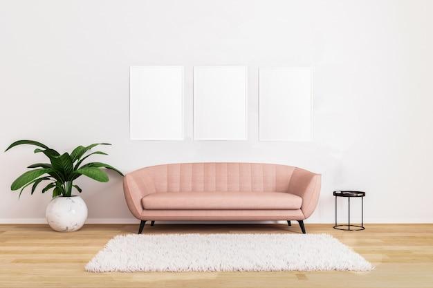 밝은 거실에서 블랙 커피 테이블과 식물 핑크 소파에 빈 그림이나 포스터 모형