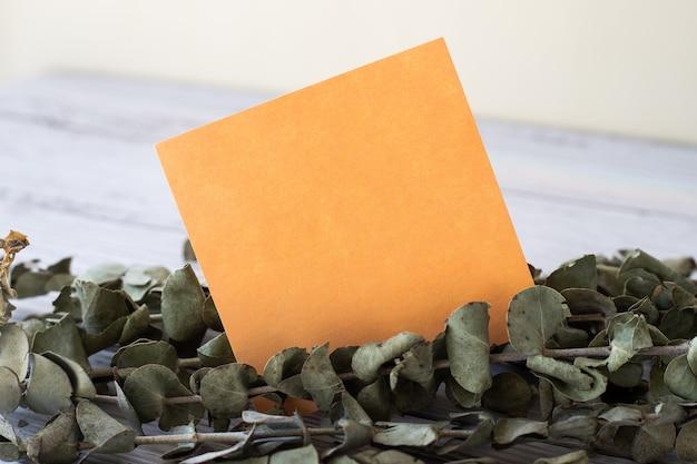 Пустой листок стикера, помещенный на стол рядом с растением. пустой лист бумаги с