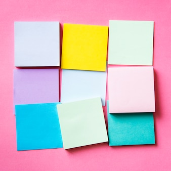 Blank pieces of colorful cards