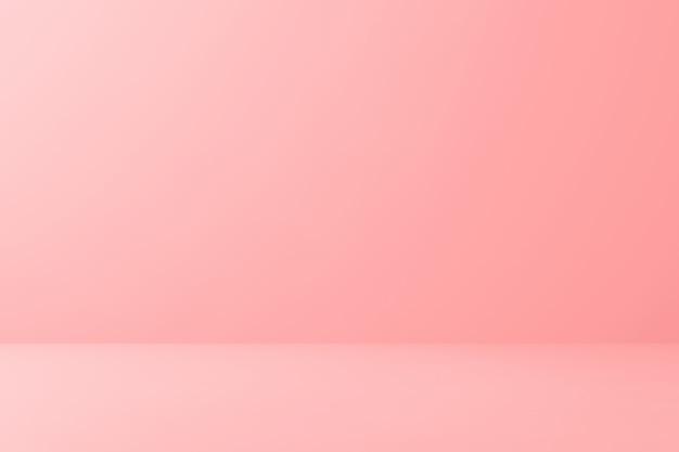 最小限のスタイルで床の背景に空白のピンクのディスプレイ。 3dレンダリング。