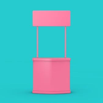 파란색 배경에 빈 분홍색 전시 광고 프로모션 스탠드 모의 이중톤. 3d 렌더링