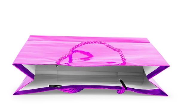 흰색 배경에 격리된 빈 분홍색 호일 플라스틱 파우치 커피백. 포장 템플릿 모형 컬렉션