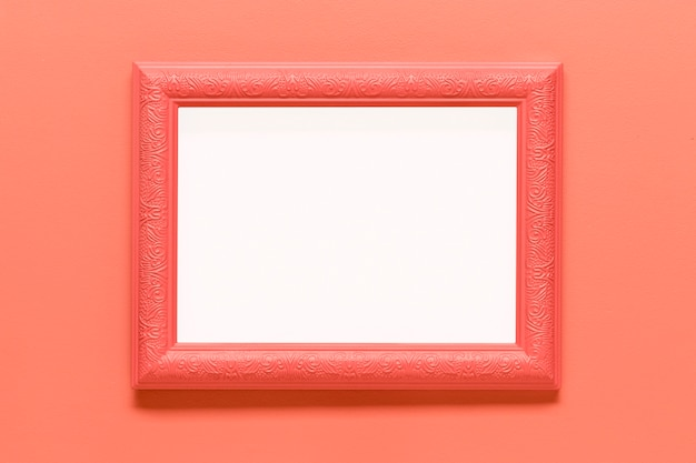 Blank pink frame on colored background