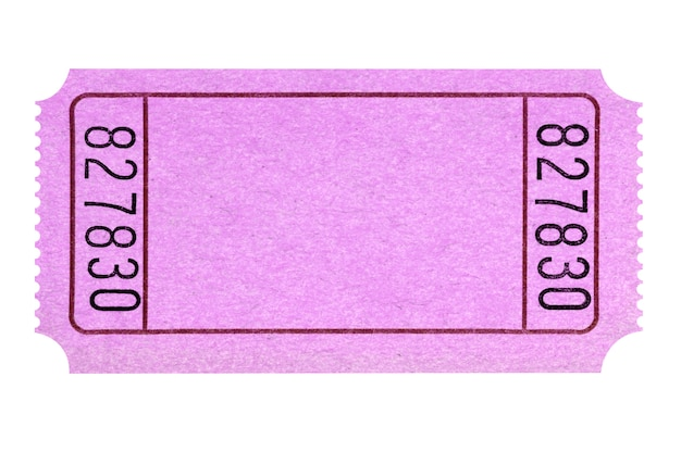 Blank pink movie or raffle ticket stub isolated