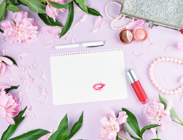 Blank pink page,  bouquet of peonies