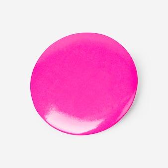 Пустой розовый круглый значок булавки