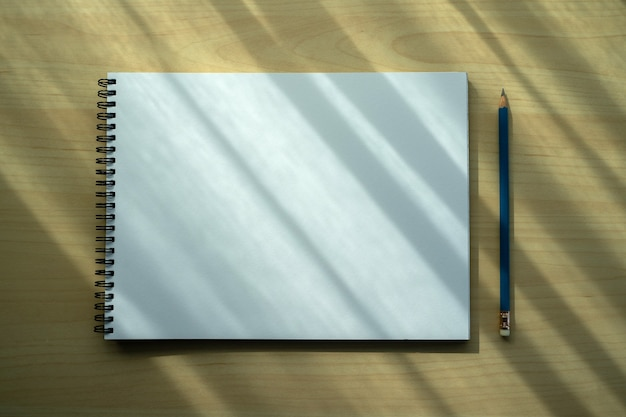 Blank plain notebook top view blank design concept background for mockup book  page with stationary blank plain notebook