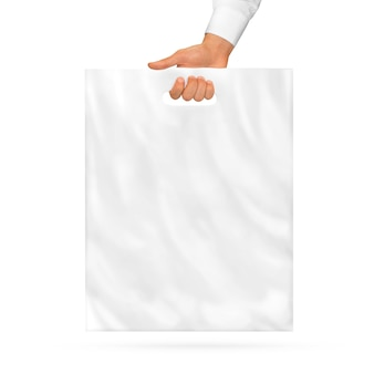 Blank plastic bag mock up holding in hand