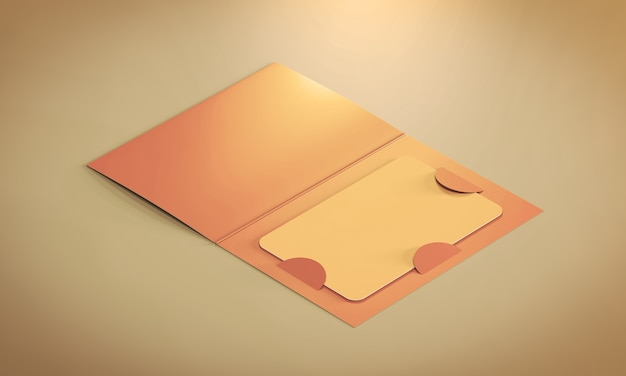 종이 책자 홀더 안에 빈 플라스틱 카드. 3d 렌더링.