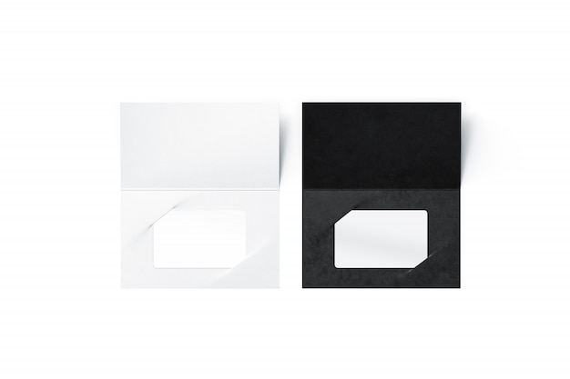 Blank plastic cards in black and white colors