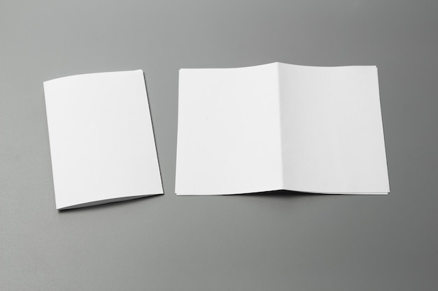 Blank portrait a4. brochure magazine isolated on gray
