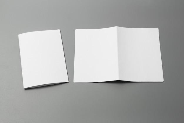 空白の肖像画a4。灰色で隔離されたパンフレット雑誌