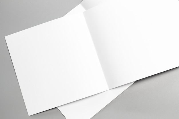 Blank portrait mock-up paper. brochure magazine isolated on gray, changeable background