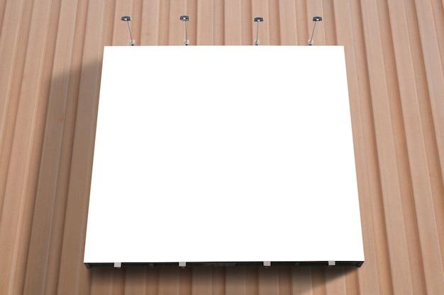 空白のポスター看板は、現代のショッピングモールの壁に接続されています。