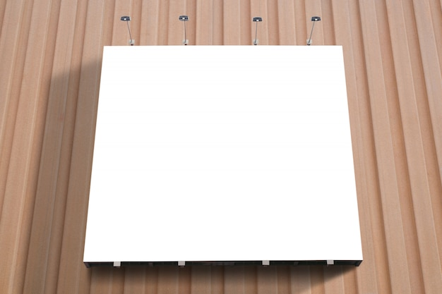 Blank poster billboard attached wall in modern shopping mall.