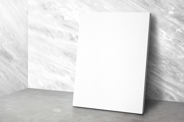 Blank poster at corner studio room with marble wall and concrete floor background