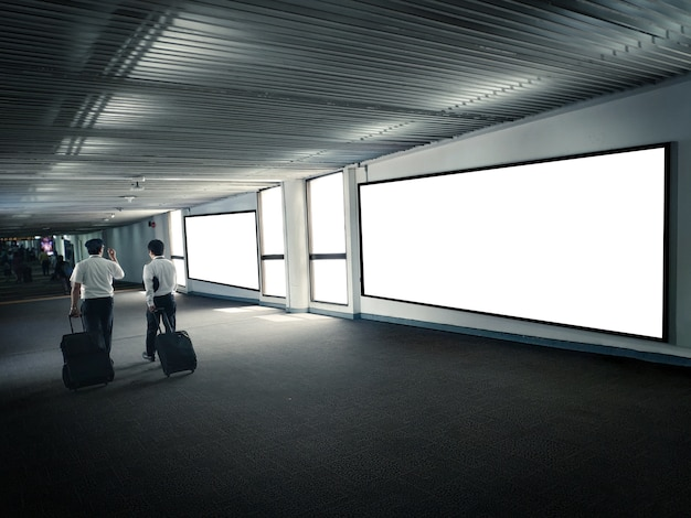 Blank poster display promotion airport terminal.