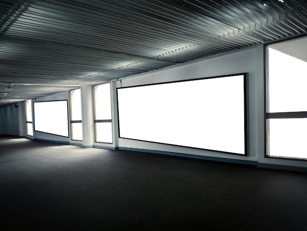 Blank poster display promotion at underground parking lotinformation for announcement mess