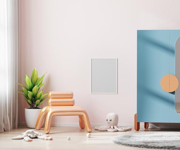 핑크 어린이 방 인테리어에 빈 포스터 프레임